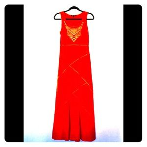 Cable and Gauge Beautiful Orange Maxi Dress